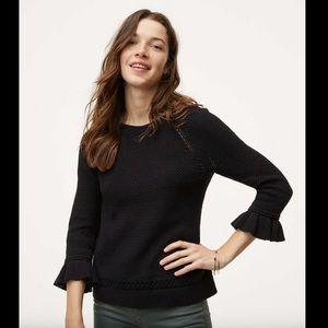LOFT Ruffle Cuff Sweater in Black